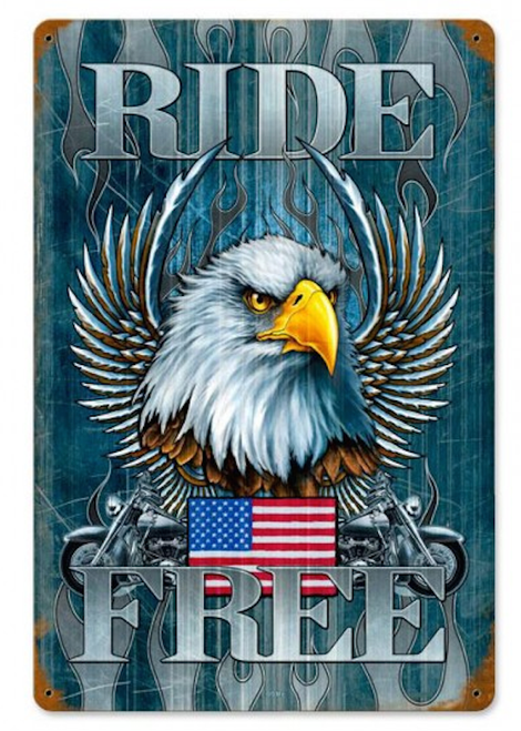 """RIDE  FREE""  METAL SIGN"