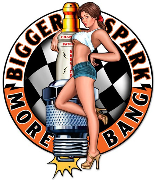 """SPARK PLUG  PIN-UP GIRL""  METAL  SIGN"