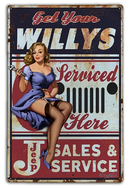 """GET  YOUR  WILLYS  SERVICED  HERE""  METAL SIGN"