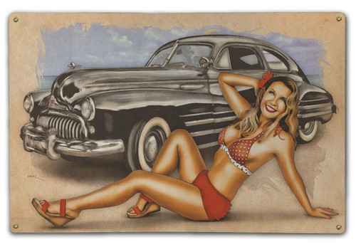 """1946  BUICK and Pin-Up Girl""  METAL  SIGN"