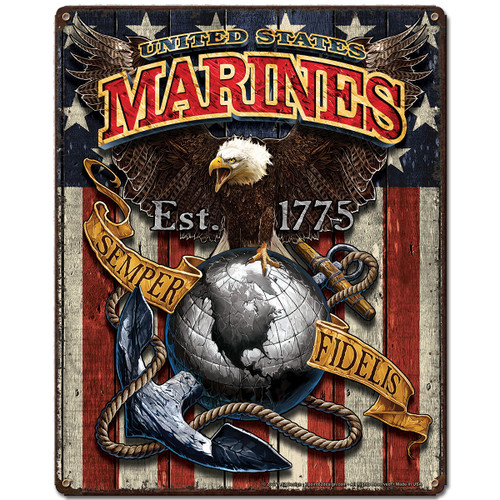 """ USMC   FIGHTING  EAGLE ""  METAL  SIGN"