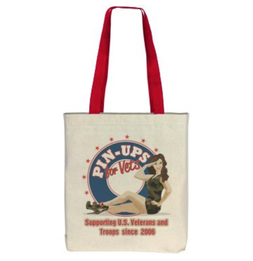 """Pin-Ups For Vets Supporting Troops & Vets"" TOTE BAG"