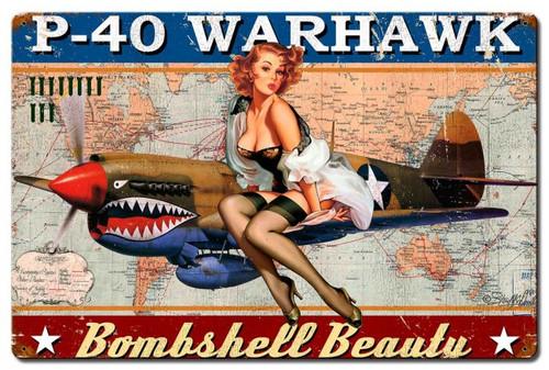 """""""P-40  WARHAWK  PIN-UP""""   METAL  SIGN"""