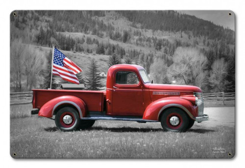 """AMERICAN  TRUCK  AND  FLAG""   Metal  Sign"