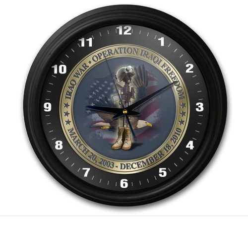 """IRAQ  WAR  TRIBUTE""  CLOCK"