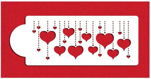 Hanging Hearts Cake Stencil Border