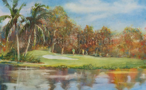 Giclee print of the watercolor painting of the 18th Green at the Sanibel Island Golf Club, FL