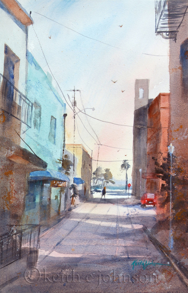 "Original Watercolor Painting ""River District Alley"""