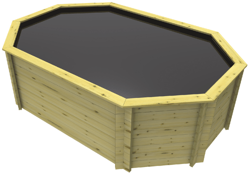 Stretched Octagonal Wooden Koi Pond - 12 x 8ft