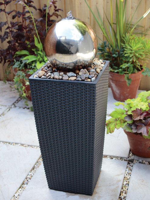 Liberty Stainless Steel Sphere And Plinth Water Feature