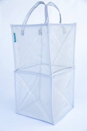 Sturdy Silver Mesh Tote for Laundry, Toys and More