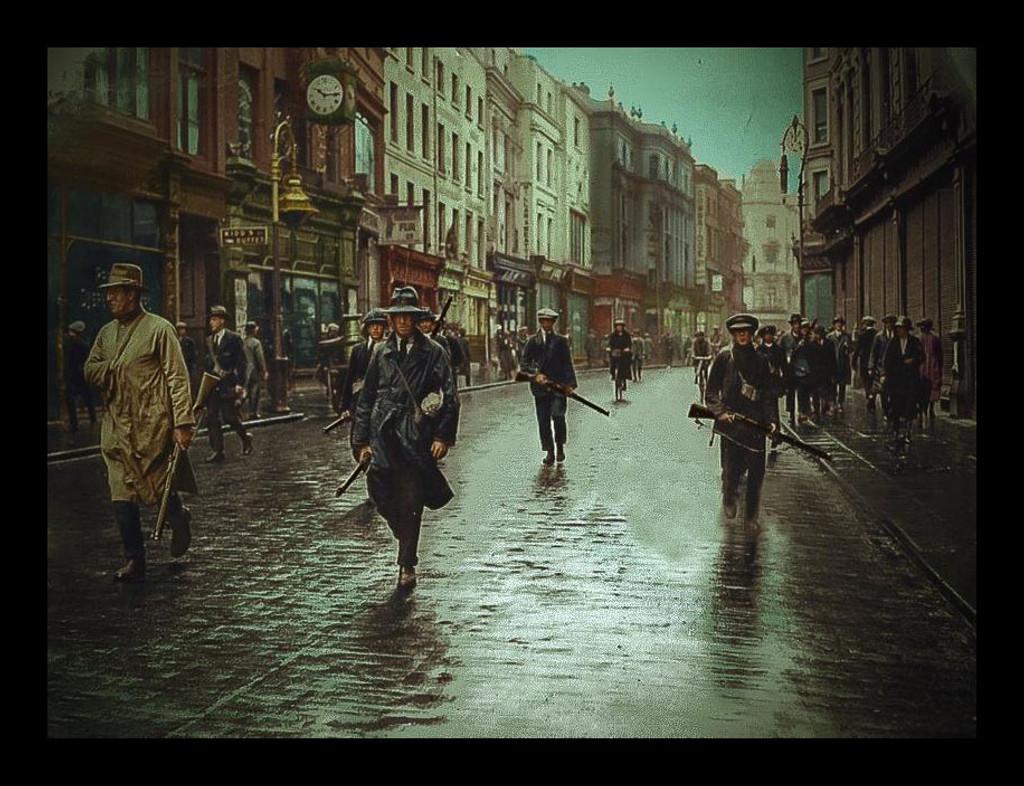 IRA Unit Patrol Grafton Street, Dublin, Ireland - 1922 colour Framed Picture