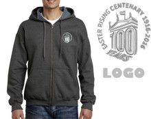 Men's 100 Years Grey Vintage Style Zipped Hoodie