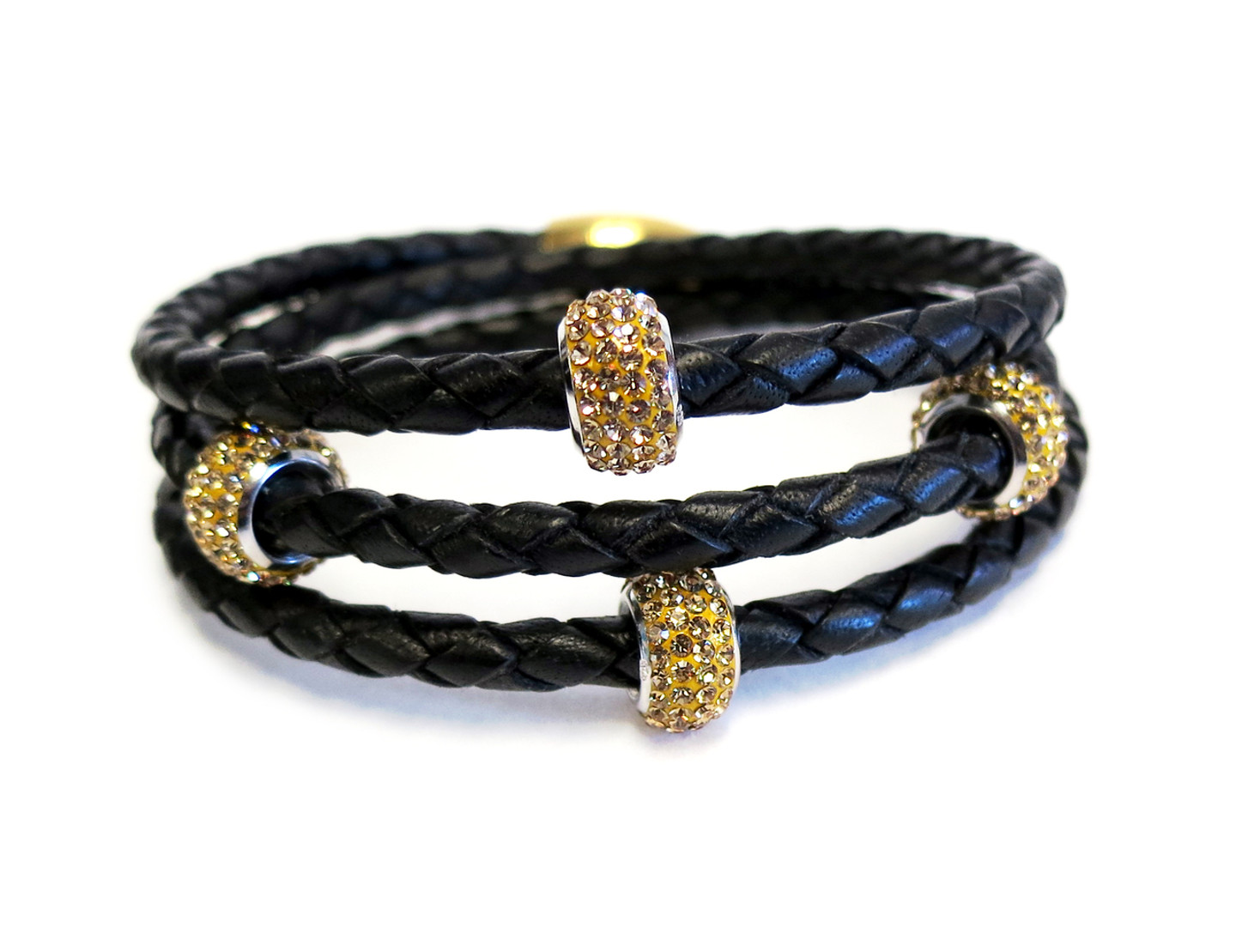 Triple Wrap Rich Braided Leather Bracelet 4 Sterling Silver CZ Beads Magnetic Clasp, the original classic design