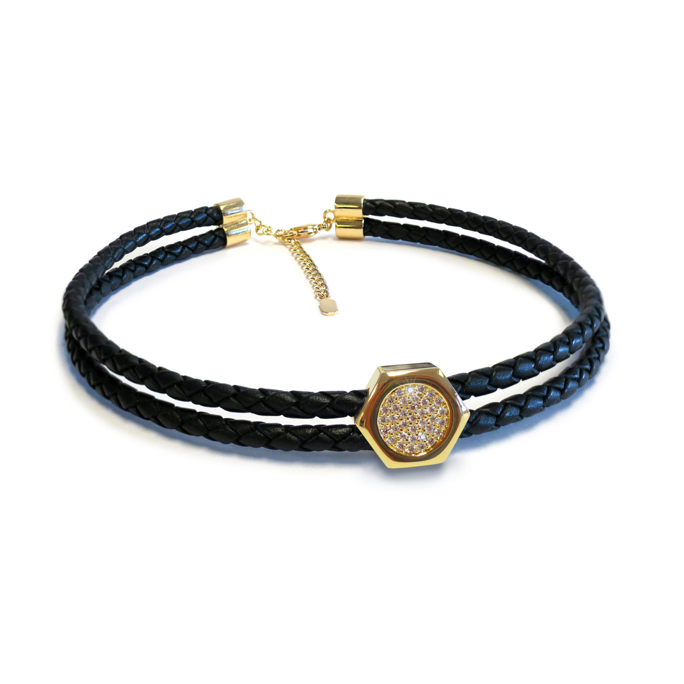 Grande Nut Double Gold Leather Choker