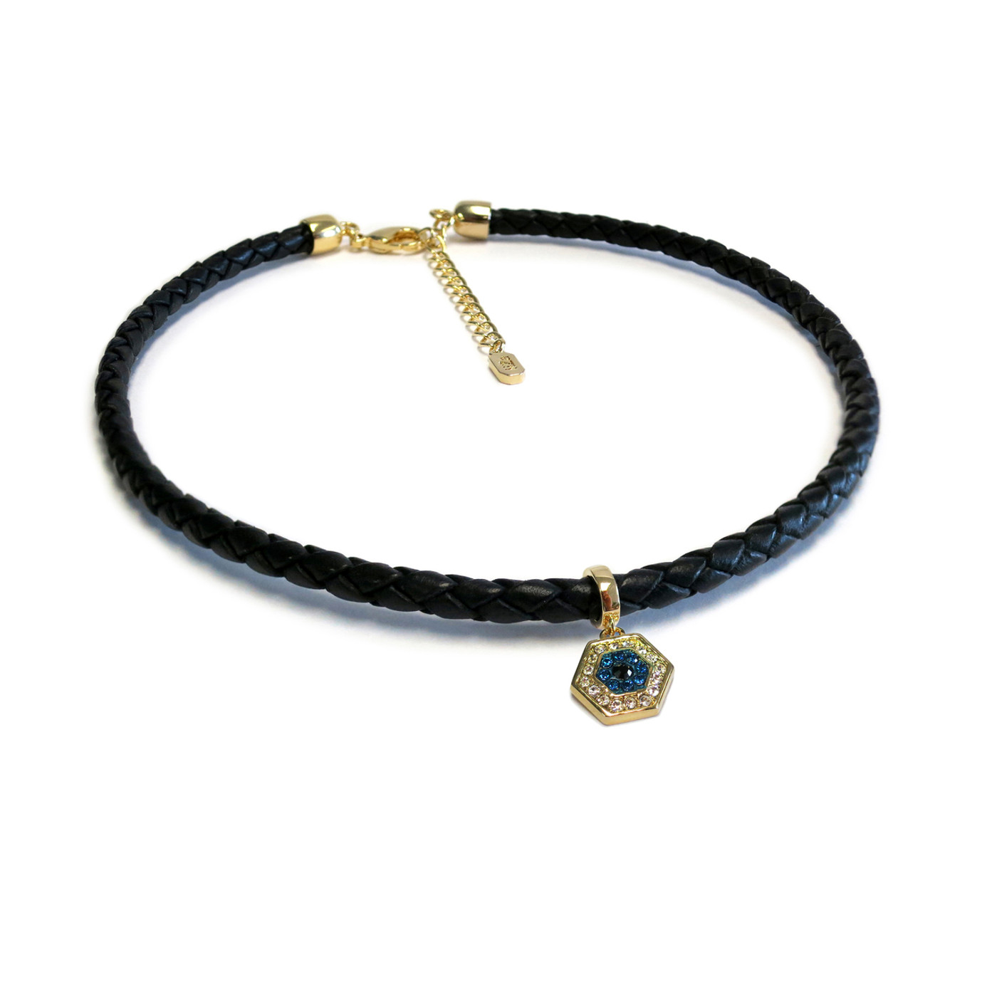 Gold Evil Eye Leather Choker