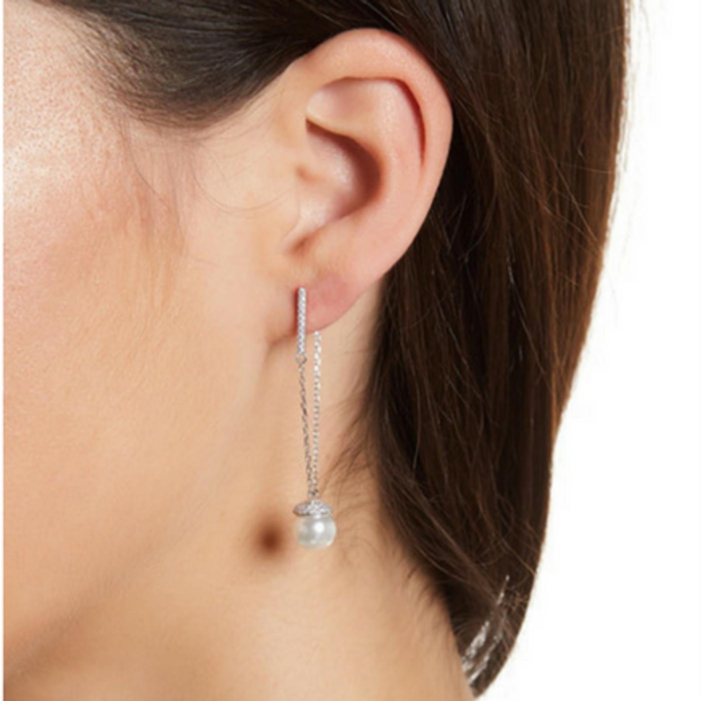 Champagne Pearl Earrings Silver