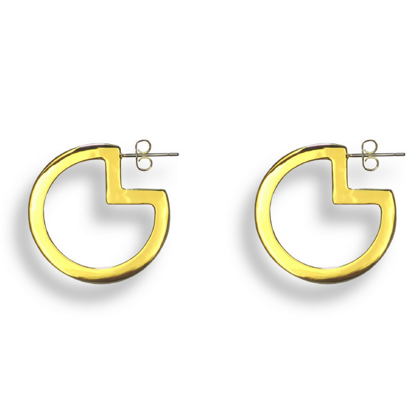 Pac-Man Hoop Earrings Gold