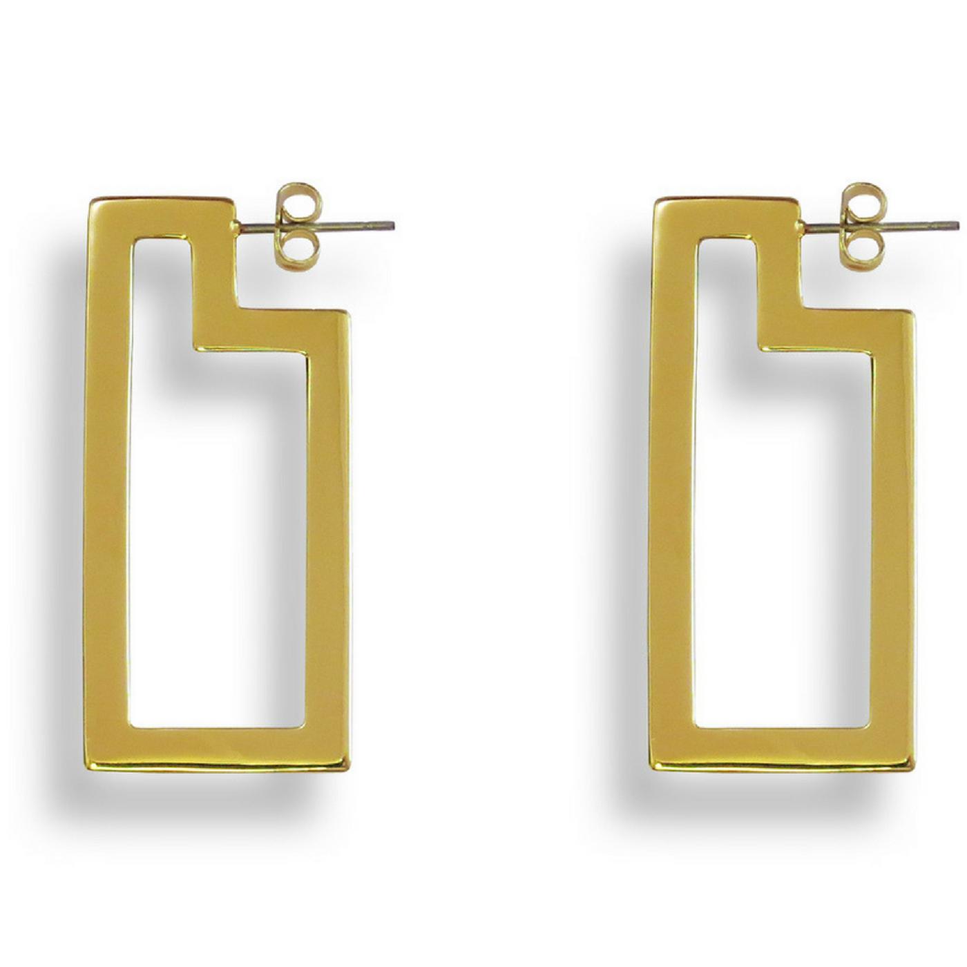 Frame Hoop Earrings Gold