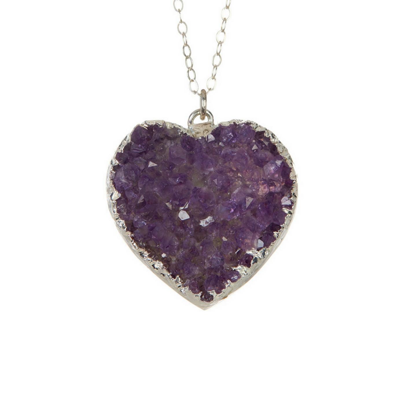 Purple Druzy Heart Necklace