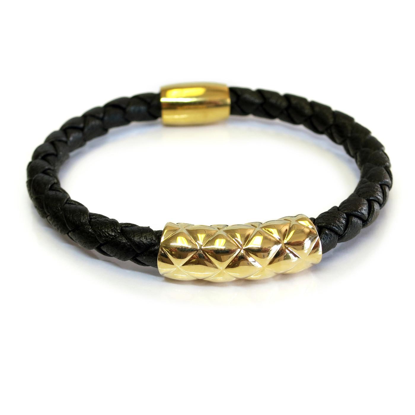 Vacay Bar Leather Bracelet Gold