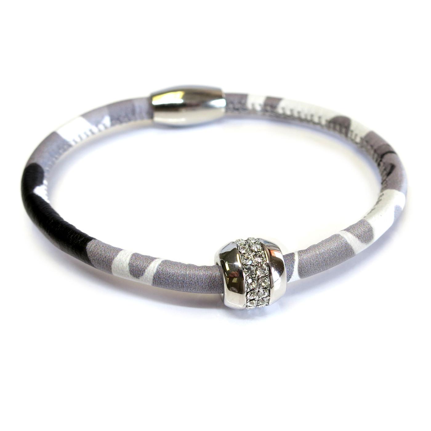 Good Karma Grey Camouflage Leather Bracelet