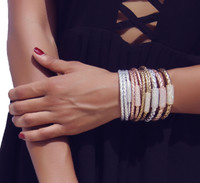 Get Stacked with this Ultra Chic and yet laid back this Triple Wrap Rich Braided Leather Bracelet Sterling Silver Bead with CZ Sterling Silver Magnetic Clasp
