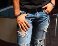 Men Leather Triple Wrap Silver Screw