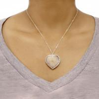 Silver Druzy Heart Necklace