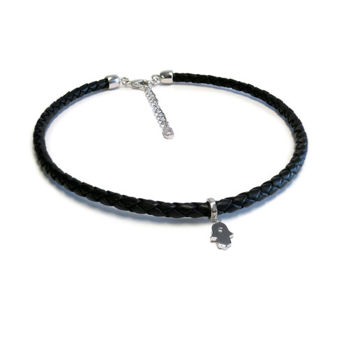 Silver Hamsa Leather Choker