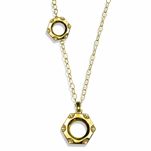 Rocked Nut and Bolt Necklace Gold