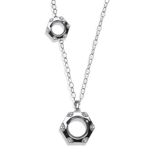 Rocked Nut and Bolt Necklace Silver