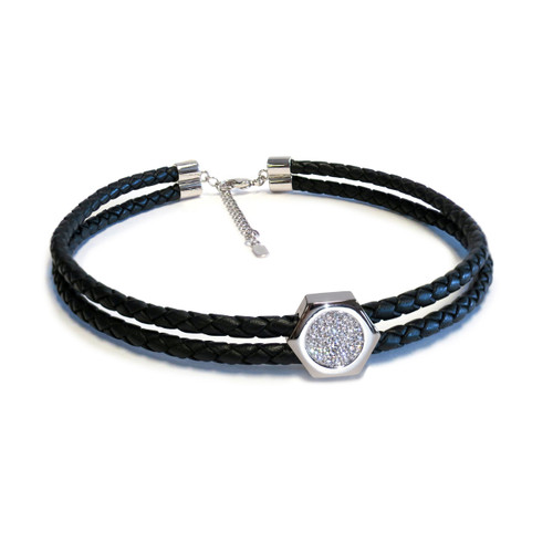 Grande Nut Double Silver Leather Choker