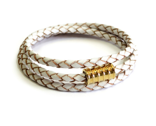 Triple Leather Wrap Gold Screw