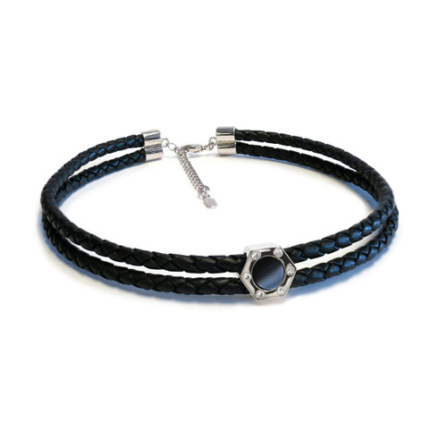 Monte Carlo Onyx Silver Leather Choker