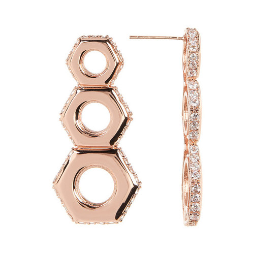 Rose Gold Nut Drop Earrings