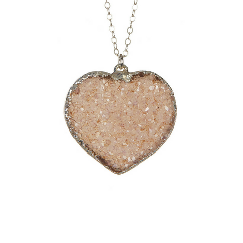 Silver Druzy Heart Necklace