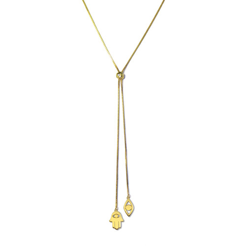 The Hamsa Eye Gold Lariat Necklace is perfect for night or day. The piece comes with the ability to adjust necklace length. Offering good luck and protection, this piece is a great gift for loved ones or a gift to yourself!