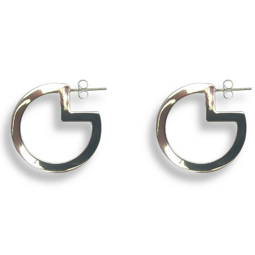 Pac-Man Hoop Earrings Silver