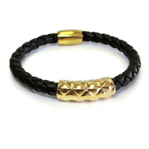 Vacay Bar Leather Bracelet Gold