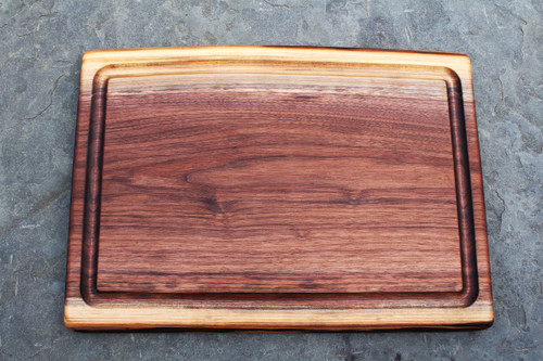 "Solid Black Walnut Live Edge Carving Board Natural Walnut Oil finish 1.5"" h x ~17"" w x 24"" l"