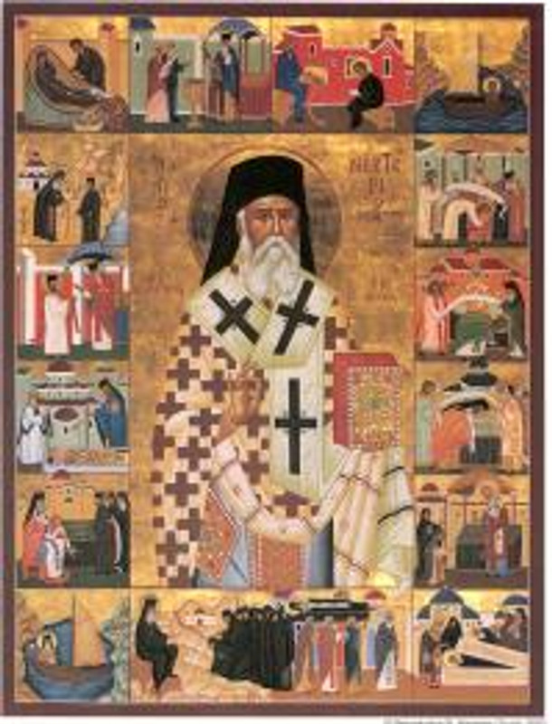 ICON OF ST. NECTARIOS WITH LIFE, LAMINATED