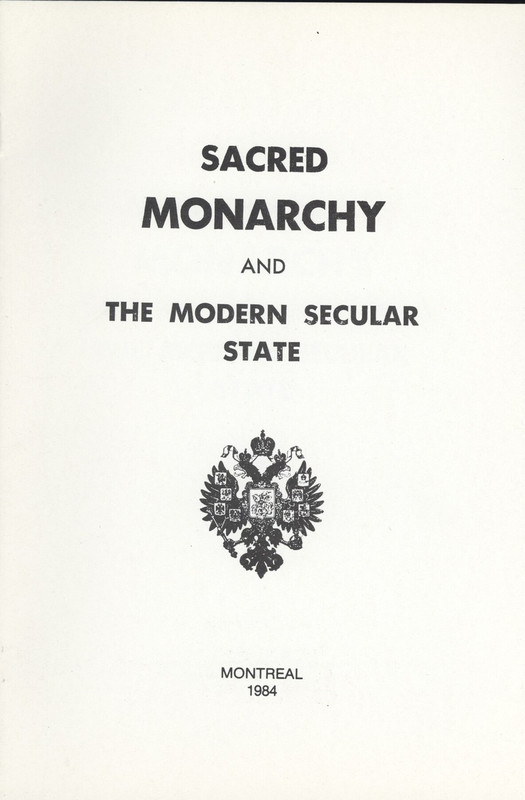 SACRED MONARCHY AND THE MODERN SECULAR STATE
