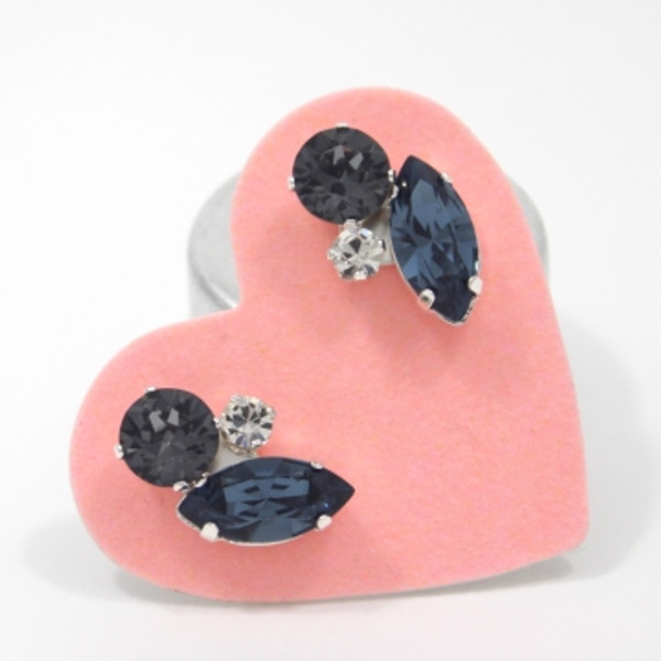 Black Sparkle & Navy Cluster Bling