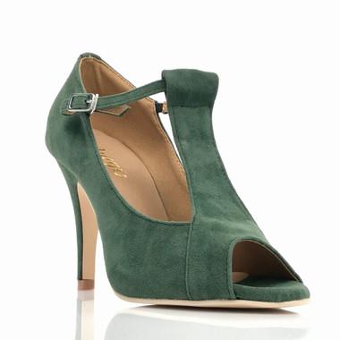 Garnet - Green Faux Suede Open Toe T-Strap Stiletto - 4 inch Heels