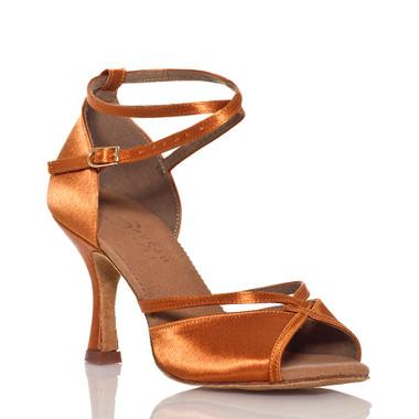 Linked - Nude Cross strap Dance Shoe - 3.5 inch Flared Heels