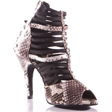 Relle - Black and White Faux Snake Skin Open Toe Elastic Strappy Stiletto Dance Shoe - 4 inch Heels
