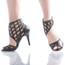 Caressa - Black Open Toe Cage Stiletto - 3.5 inch Heels