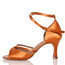 Linked - Nude Cross strap Dance Shoe - 3 inch Flared Heels