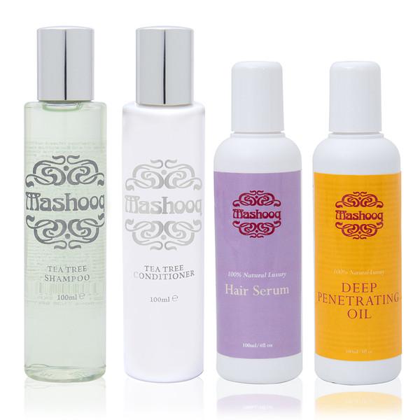 Mashooq Travel Pack (Tea tree shampoo, conditioner oil, serum 100ml each)
